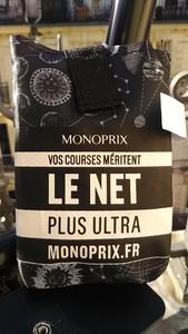 フランス パリ スーパーマーケット モノプリ エコバッグ トートバッグ モノプリエコバッグ MONOPRIX 天体 宇宙柄 黒×グレー×シルバー