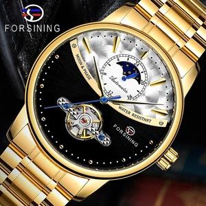 【最安値送料無料】高級 メンズ腕時計 機械式 自動巻き トゥールビヨン サンアンドムーン 海外人気 男性ウォッチ 紳士 カジュアル ゴールド