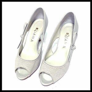【極美品】ダイアナ DIANA 上品 本革レザー オープントゥ パンプス 23cm ホワイトベージュ レディースシューズ 靴 シューズ ヒールパンプス