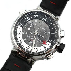 ルイ・ヴィトン LOUIS VUITTON タンブールクロノGMT Q1A40 グレー 腕時計 メンズ 中古