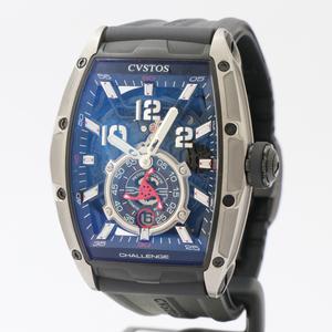 クストス CVSTOS チャレンジジェットライナー CVT-JET2-PSTTB 自動巻き チタン×ラバーベルト メンズ 腕時計 中古