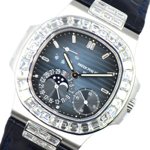 パテック・フィリップ PATEK PHILIPPE ノーチラス  バゲットダイヤモンド 5724G-001 ネイビー 自動巻き メンズ 腕時計 中古
