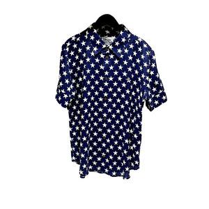 ヴィヴィアンウエストウッド Vivienne Westwood スターリネンシャツ ネイビー/ホワイト 半袖シャツ サイズ:50 メンズ 中古