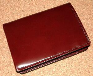 新品 Groover Leather グルーバーレザー 最高級 コードバン 皮革製 ミディアム ウォレット (茶) 二つ折り財布 セミロング 馬革 長財布 本革