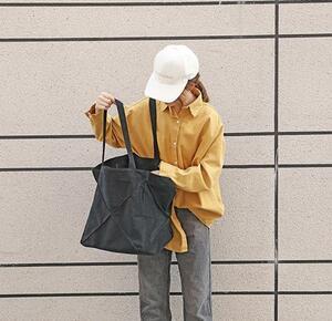 トートバッグ エコバッグ レディース 軽量 コーデュロイ 軽い かわいい 大きめ a4 普段使い バッグ (ブラック)