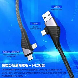 USB Type-C Lightning 充電ケーブル 4in1 急速充電