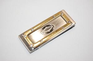 カルティエ Cartier サントス マネークリップ お札クリップ ビスモチーフ コンパクト財布 (シルバーxゴールド)