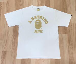 ★希少★ APE カラーカモ カレッジ ロゴ Tシャツ ゴールド M