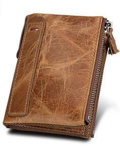新品 送料無料 茶色 ブラウン 本革 牛革 レザー 二つ折り 財布 ウォレット 小銭入れ コイン カード ケース メンズ 高級感 カード入れ 小物