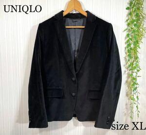 UNIQLO ユニクロ レディース テーラードジャケット ベロア ブラック XL
