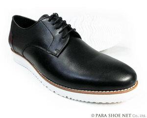 PARASHOE 本革 プレーントゥ ビジネスカジュアルシューズ 厚底白ソール 3E(EEE)黒 24.5cm【メンズ革靴・紳士靴】