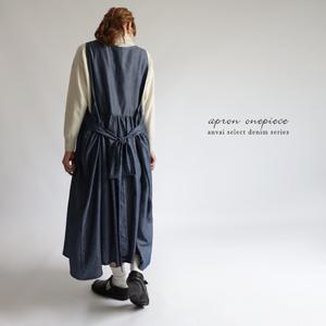 ■『後ろリボン ジャンパースカート ワンピース』コットン100%甘織デニムDENIMゆったりエプロンK42