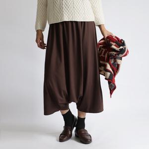 ■『誰にでも似合うサルエル パンツ』84cm丈 上質とろみ伸縮Tシャツ・カットソー素材 ゆったり ブラウンK57A