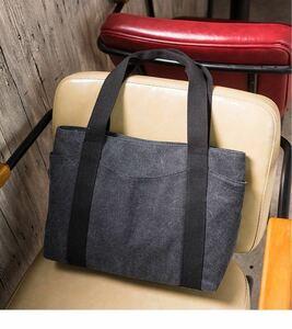 トートバッグ レディース キャンバス 大容量 帆布バッグ 2way 手提げバッグ 男女兼用 オフィス 通勤 通学 習い事 ブラック