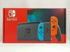 美品 Nintendo Switch Joy-Con(L) ネオンブルー/(R) ネオンレッド(HADSKABAA)(バッテリー拡張モデル)