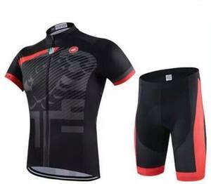 新品未使用 自転車ウェア サイクルジャージ 短袖上下セット 高品質 20D ゲルパッド  高弾性 吸汗速乾 サイズL  即発送 E001