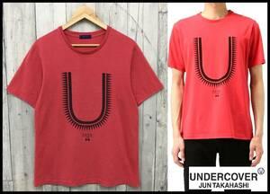 ★名作★ UNDERCOVER アンダーカバー 16SS GIZ U T-Shirt TEE ギザ Uロゴ プリント 半袖 Tシャツ カットソー レッド 赤 3