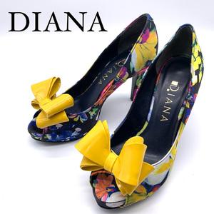 【美品】DIANA ダイアナ パンプス 22cm 花柄 イエロー エナメル レディース 靴 おしゃれ オープントゥ ピンヒール 送料無料 ネコポス