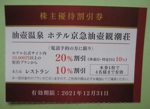 ホテル京急油壺観潮荘 20%割引 1枚4名3泊まで可 12/31迄