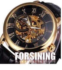 Forsining 高級感たっぷり♪ 機械式腕時計 アナログ 手巻き フォーマル カジュアル 黒 アナログ 機械式手動巻き レザーバンド