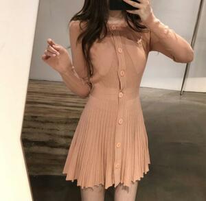 秋新作 前開きボタン プリーツスカート sexy 可愛い大人 おしゃれ ストレッチ素材 ミニ丈ニットワンピース ピンク