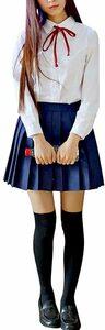 長袖+紺スカート L 女子高生 コスプレ制服 学生服 セーラー服 無地 プリーツスカート 定番 本格 JK制服 コスチューム 夏