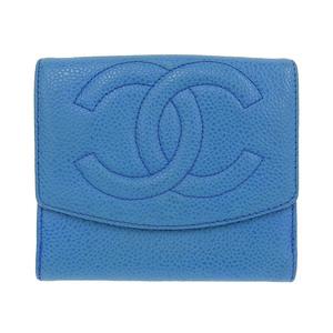 シャネル CHANEL 二つ折財布 キャビア ブルー 青 ゴールド金具 5番台