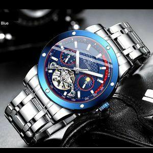 ☆最安★高級男性腕時計 43mm 機械式自動巻 サン&ムーン表示 スケルトン トゥールビヨン メンズウォッチ 夜光 紳士 シルバー 青 1168