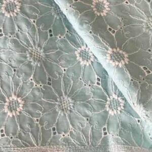 マーガレット刺繍 生地 スモーキーミン ハンドメイド リネン チェックアンドストライプ