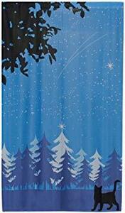ブルー サイズ:幅85×丈150cm 1枚 ユニベール のれん 『Merry Christmas』 クリスマスツリー ブルー 幅