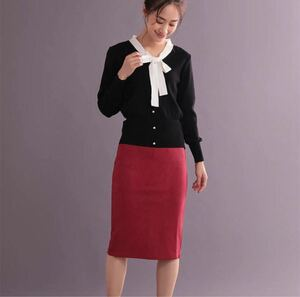 スカート ひざ丈 タイトスカート ワインレッド Lサイズ