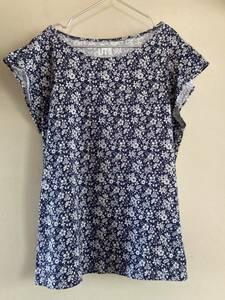 LIBERTY LONDON リバティロンドン ×ユニクロ花柄Tシャツ ネイビー半袖 L☆ UNIQLO UT コットングラフィックT フラワー