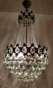 1950s アンティーク エンパイヤ様式 シャンデリア 真鍮 高級クリスタル Brass Crystal French Chandelier フランス 高さ35cm 重さ6.5Kg