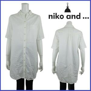 ニコアンド niko and... シャツ ワンピース ブラウス カットソー トップス 半袖 ロールアップ コットン100% シンプル ホワイト サイズ3