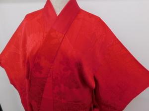 〔楽布〕P14229 正絹赤襦袢 大正ロマン k