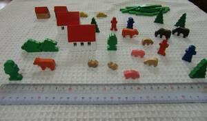 木のおもちゃ ブロック ミニチュア 牧場セット 動物 家 牛 馬 犬 人形 木製 外国製