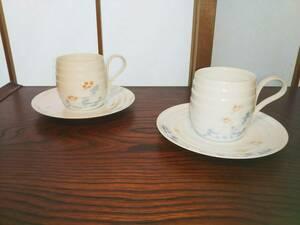 昭和レトロ コーヒーカップ 5客  白地 青 花柄