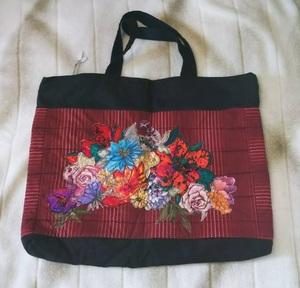 ハンドメイド 布バッグ 大型 パッチワーク キルト 花柄