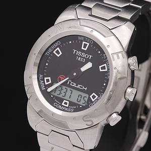 1円☆稼働☆正規品【ティソ】クロノ アラーム コンパス Touch 黒文字盤 デジアナ スイス製 QZ メンズ腕時計 A0132372