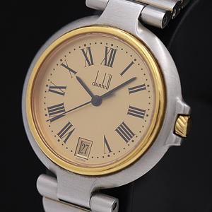 1円◎稼働◎良品【ダンヒル】ミレニアム デイト スイス製 ゴールドローマン コンビ QZ メンズ腕時計 A0134198