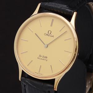 1円★正規品【オメガ】デビル スイス製 ゴールド系文字盤 QZ メンズ腕時計 310A0150896