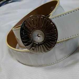 美品正規品 マスターバニー パーリーゲイツ サークルロゴ ホワイト 型押し ベルト 合成皮革 送料無料 全長92センチ 送料無料