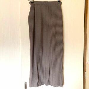 スカート リブリラックスタイトスカート ロングスカート プリーツ リブ ブラウン 茶