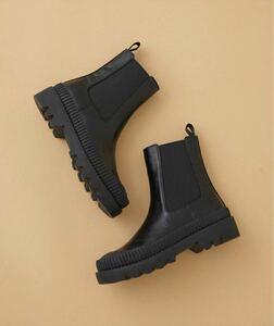 アダムエロペ 晴雨兼用 チェルシーブーツ ブラック 黒 レインブーツ 38 24cm サイドゴア ショートブーツ