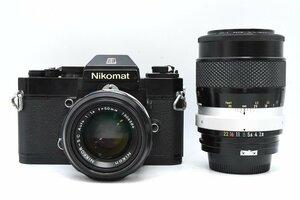 ◆ Nikon ニコン Nikomat EL + 非AI NIKKOR-S・C Auto 50mm F1.4 + 非AI NIKKOR-Q・C Auto 135mm F2.8 フィルムカメラ ニコン用交換レンズ