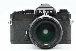 ◆ Nikon ニコン FE ブラック + AI改 NEW NIKKOR 28mm F2.8 MF一眼レフ フィルムカメラ 広角 単焦点レンズ