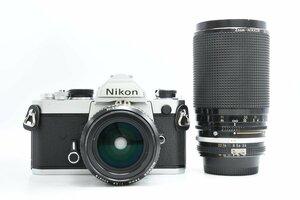 ◆ Nikon ニコン FM + AI NIKKOR 28mm F2.8 + AI-S Zoom-NIKKOR 35-200mm F3.5-4.5 ボディ レンズ セット MF一眼 単焦点 ズームレンズ