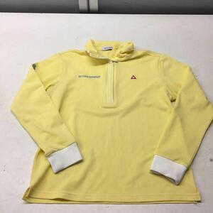 送料無料★le coq sportif ルコックスポーティフ★ハーフジップ長袖シャツ ポロシャツ★ゴルフウェア★黄色★Mサイズ♯30226sj101