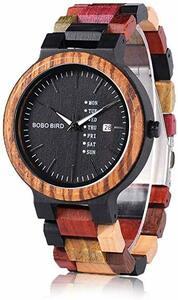メンズ メンズ (ボボバード) BOBO BIRD メンズ 木製腕時計 天然木材 カラフル 曜日・日付表示 日本製クォーツムーブ
