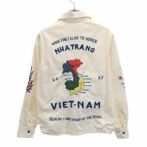 ビームスボーイ ベトジャン 雷門 刺繍 ジャケット オフホワイト BEAMS BOY スカジャン コットン ジップ レディース 210404